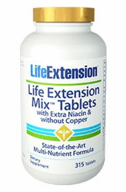 LE Mix Tablets - Life Extension - Extra Niacin, No Copper (315 Tabs) - 4-Pak