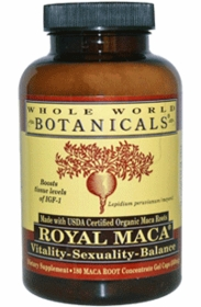Royal Maca Gel Caps (500mg) - Whole World Botanicals - 180 Gel Caps