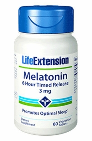 Melatonin 6 Hour Timed Release (3 mg) - Life Extension - 60 Time Release 3 mg Vegetarian Tablets - TwinPak