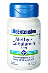 Methylcobalamin (1 mg) - Life Extension - 60 Lozenges - 4-Pak