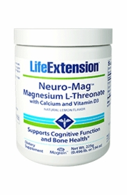 Neuro-Mag Magnesium L-Threonate with Calcium and Vitamin D3 - Life Extension (225 g) Powder