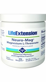 Neuro-Mag Magnesium L-Threonate Tropical Punch Flavor - Life Extension 93.35 g Powder