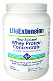 New Zealand Whey Protein Concentrate, Natural Chocolate Flavor - Life Extension (660 grams) Powder
