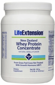 New Zealand Whey Protein Concentrate, Natural Vanilla Flavor - Life Extension (520 grams) Powder