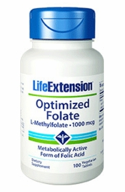 Optimized Folate (L-Methylfolate) (1000mcg) - Life Extension -2 bottles - 100 Vegetarian Tabs in two bottles