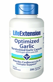 Optimized Garlic - Life Extension - 200 vegetarian capsules - 4-Pak