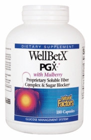 Wellbetx PGX Fiber Blend with Mulberry Extract - Natural Factors - 180 Capsules