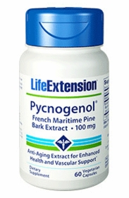 Pycnogenol French Maritime Pine Bark Extract - Life Extension - 60 vegetarian Capsules - 4-Pak