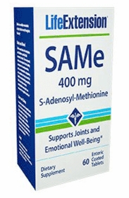 SAMe (S-Adenosyl-Methionine) 400 mg - Life Extension - 60 Enteric Coated Tabs