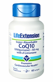 Super-Absorbable CoQ10 with d-Limonene (50 mg) - Life Extension 60 Softgels - 4-Pak