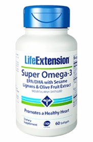 Super Omega-3 EPA/DHA with Sesame Lignans & Olive Fruit Extract - Life Extension - 60 Softgels - TwinPak
