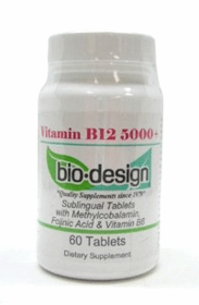 B12 5000 - Bio-Design (5000mcg) with Methylcobalamin, B6 and Folinic Acid, 60 Lozenges