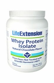 Whey Protein Isolate (Natural Chocolate Flavor) - Life Extension - 454 grams (1 lb. or 16 oz.) - TwinPak