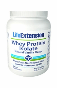 Whey Protein Isolate (Natural Vanilla Flavor) - Life Extension - 454 grams (1 lb. or 16 oz.) - TwinPak