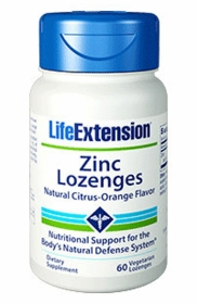 Zinc Lozenges - Life Extension - Natural Citrus-Orange Flavor - 120 Vegetarian Lozenges - TwinPak