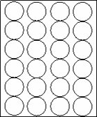 "1 2/3"" CIRCLE  - White -  100 sheets per box"