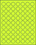 "1"" FLUORESCENT CHARTREUSE LABEL (GLC100FC) 100 SHEETS/BOX"