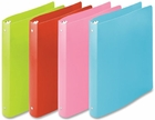 "1"" POLY BINDER FASHION ASSORTMENT OF LIME, LIGHT BLUE, PINK AND RED - CASE TOTAL OF 10 BINDERS (40716)"