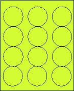 "2 1/2"" FLUORESCENT CHARTREUSE LABEL (GLC250FCH) 100 SHEETS/BOX"