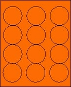 "2 1/2"" FLUORESCENT ORANGE LABEL (GLC250FO) 100 SHEETS/BOX"