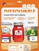 2 1/2 X 3 3/4 DISSOLVABLE LASER/INKJET LABEL, 8 LABELS PER 8 1/2 X 11 SHEET
