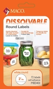 "2"" DIAMETER WRITE ON DISSOLVABLE LABEL, 72 LABELS PER PACKAGE"