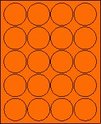 "2"" FLUORESCENT ORANGE LABEL (GLC200FO) 100 SHEETS/BOX"