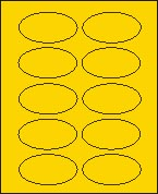 "2"" X 3 1/4"" BRILLIANT YELLOW OVAL LABEL (GL2032VBY) 100 sheets/box"