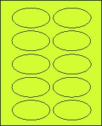 "2"" X 3 1/4"" FLUORESCENT CHARTREUSE OVAL LABEL (GL2032VFCH) 100 sheets/box"