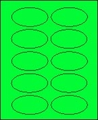 "2"" X 3 1/4"" FLUORESCENT GREEN OVAL LABEL (GL2032VFG) 100 sheets/box"