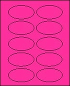 "2"" X 3 1/4"" FLUORESCENT PINK OVAL LABEL (GL2032VFP) 100 sheets/box"