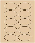 "2"" X 3 1/4"" PASTEL BROWN OVAL LABEL (GL2032VPBRWN) 100 sheets/box"
