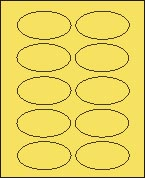 "2"" X 3 1/4"" PASTEL YELLOW OVAL LABEL (GL2032VPY) 100 sheets/box"