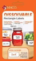 2 X 4 WRITE ON DISSOLVABLE LABEL, 36 LABELS PER PACKAGE
