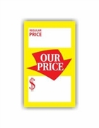 3 3/4 X 5 REGULAR PRICE / OUR PRICE TAG