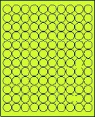 "3/4"" FLUORESCENT CHARTREUSE LABEL (GLC075FC) 100 SHEETS/BOX"