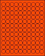 """3/4"""" FLUORESCENT RED LABEL (GLC075FR) 100 SHEETS/BOX"""