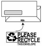"3105 - No. 10 - 4 1/8 x 9 1/2, ""A"" window (1 1/8 x 4 3/4, 3/4L - 1/2B), ""please recycle"" logo"