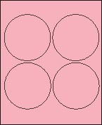 "4"" PASTEL PINK LABEL (GLC400PP) 100 SHEETS/BOX"