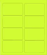 "4"" X 2 1/2"" FLUORESCENT CHARTREUSE LABELS (GL2540FC)"