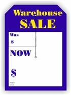 5 X 7 WAREHOUSE SALE TAG WITH SLIT