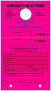 "7 3/4"" X 4 1/4"" FLUORESCENT PINK PARKING HANG TAG"