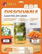 8 1/2 X 11 DISSOLVABLE LASER/INKJET LABEL, 1 LABEL PER 8 1/2 X 11 SHEET