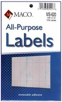 All Purpose White Removable Labels on Smaller Sheets