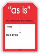 AS IS SALE TAG WITH SLIT 5 X 7