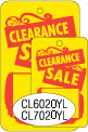 """CL7020YL 1 1/4 """" X 1 7/8"""" SALE TAG YELLOW WITH RED INK """"Clearance Sale"""" Strung"""