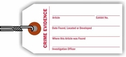CRIME EVIDENCE TAG - WHITE WITH RED PRINT
