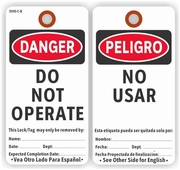 DANGER DO NOT OPERATE/NO USAR (ENGLISH/SPANISH)