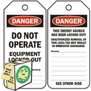 DANGER DO NOT OPERATE EQUIPMENT LOCKED OUT