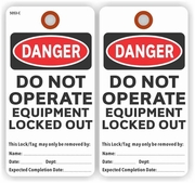 EM5053CWH DANGER DO NOT OPERATE EQUIPMENT LOCKED OUT TAG